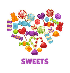 Delicious sweets and lollipops in heart shape vector