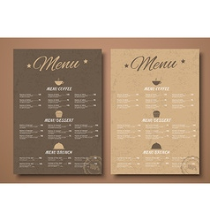 Design a menu for the cafe shops or caffeine in a vector