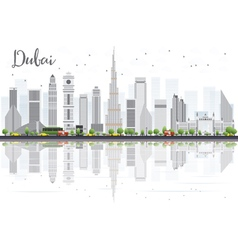 Dubai city skyline with gray skyscrapers vector