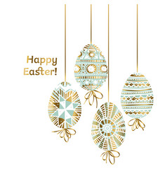 easter egg in modern pale green teal color vector image