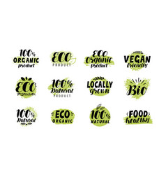 eco bio logo healthy food label set vector image