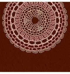 Elegant lacy doily on canvas background vector