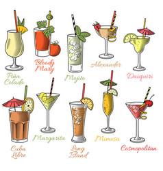 Famous cocktails vector