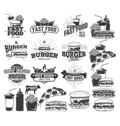 Fast food label logos and design elements vector