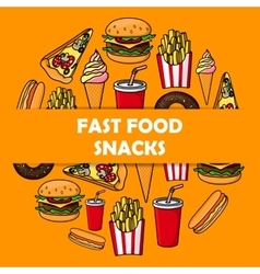 Fast food meal round poster vector