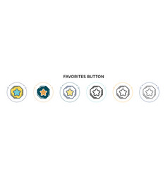 Favorites button icon in filled thin line outline vector