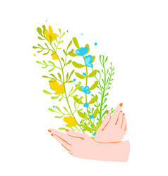 female hands holding a bunch wild flowers hand vector image