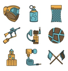 Flat color design icons for paintball vector image