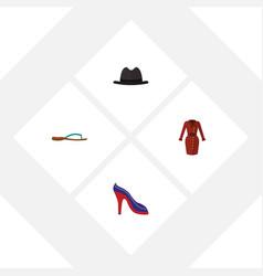 Flat garment set of heeled shoe panama clothes vector