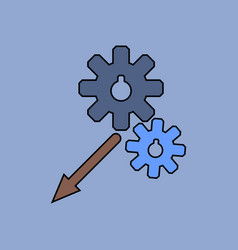 Flat icon design collection two gears vector