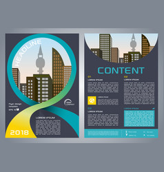 Flyer corporate business with blue ribbon vector