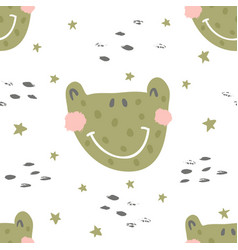 Frog nursery pattern vector