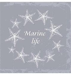 Gentle Decorative sea card with starfishes in vector
