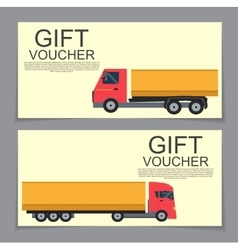 Gift voucher template with machines for cargo vector
