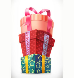 gifts stack boxes 3d icon vector image
