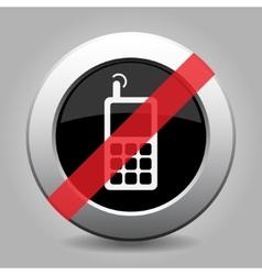 Gray chrome button - no old mobile phone vector