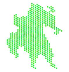 green hexagonal peloponnese half-island map vector image
