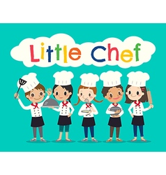 Group of young chef children kids cartoon vector