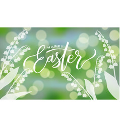 Happy easter card with bokeh vector