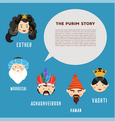 happy purim the story of purim with traditional vector image