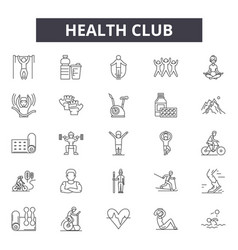 Health club line icons signs set outline vector