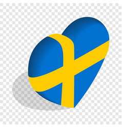 Heart of sweden flag colors isometric icon vector