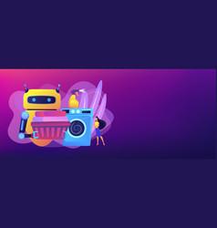 home robot technology concept banner header vector image