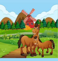 horse at the farm landscape vector image