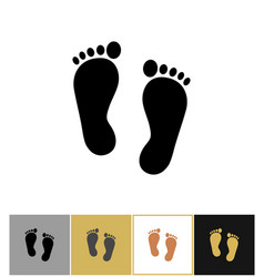 Human foot print icon footprints symbol on gold vector