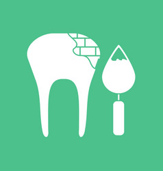Icon tooth with tool vector