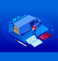 isometric logistics and delivery 24-7 concept vector image