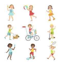 Kids Outdoor Activities Set vector