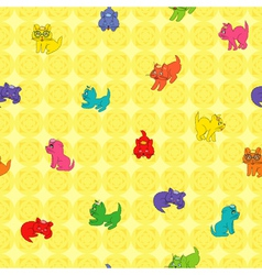 Kittens on the wallpaper vector