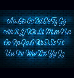 Latin neon font glowing alphabet electric stand vector