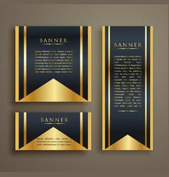 Luxurious card design banners set three vector