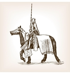 Medieval knight sketch style vector image