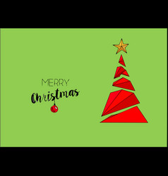merry christmas greeting card with calligraphy vector image