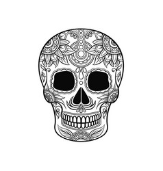 Mexican sugar skull with floral ornament day of vector
