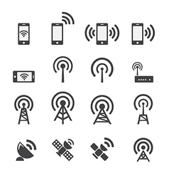 Mobile devices and wireless icon set vector image