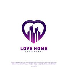 modern city love logo design concept business vector image