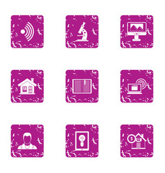 Payment home icons set grunge style vector