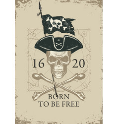 pirate banner with skull cocked hat and vector image