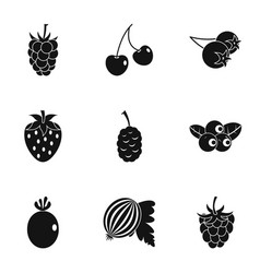 plant berries icon set simple style vector image vector image