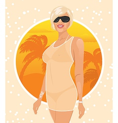 pretty girl on summer background vector image