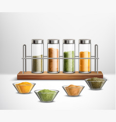 realistic spices composition vector image