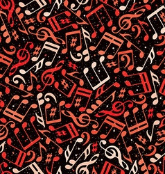 Red musical notes seamless pattern vector image