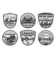 retro cars vintage vehicles icons set vector image