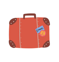 retro leather suitcase summer travel sign symbol vector image