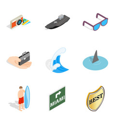 Sea adventure icons set isometric style vector