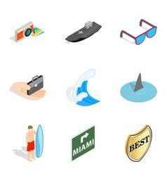 sea adventure icons set isometric style vector image